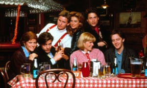 Ally Sheedy, Judd Nelson, Emilio Estevez, Demi Moore, Mare Winningham, Rob Lowe and Andrew McCarthy in St Elmo's Fire, 1985