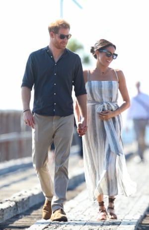 Meghan, Duchess of Sussex, wears a dress by the sustainable brand Reformation during her tour of Australia with Prince Harry.
