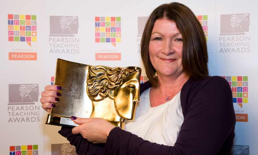Patricia Davies collects her award for headteacher of the year in October 2011.