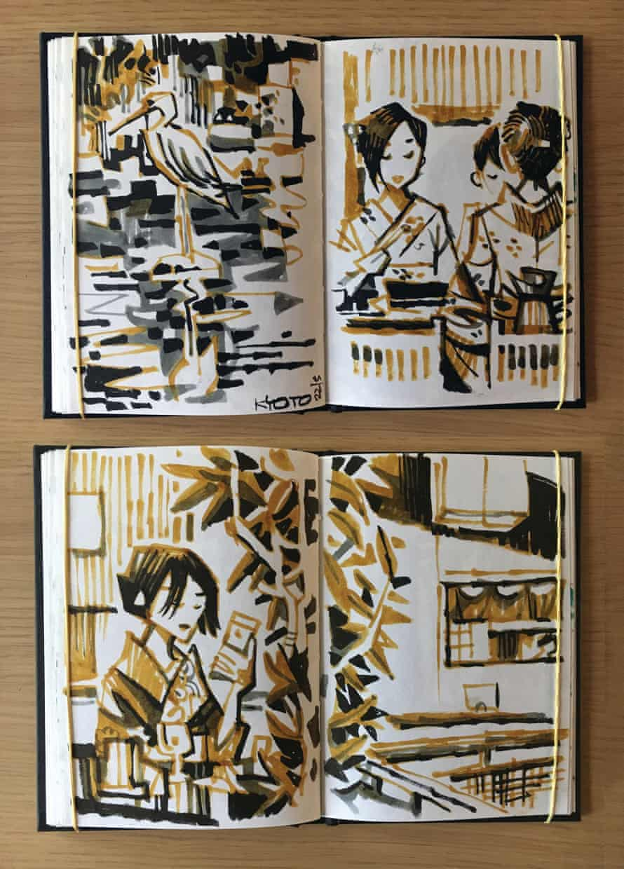 Two pages of sketches from Kyoto, Japan.