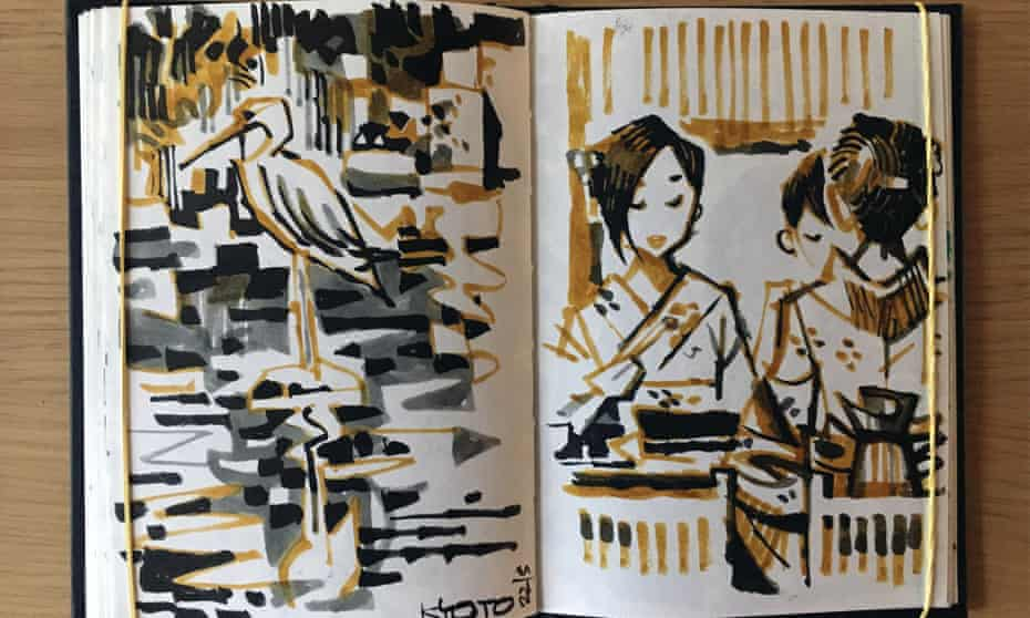 Two drawings from Jonathan Edwards' Kyoto sketchbook.