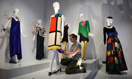 Dresses designed by French fashion designer Yves Saint Laurent in homage to Piet Mondrian at the Bowes Museum in Barnard Castle, in north-east England, 9 July 2015.