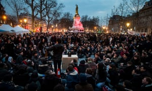 Demonstrators gather in Place de la République for a peaceful sit-in as part of the Nuit debout movement