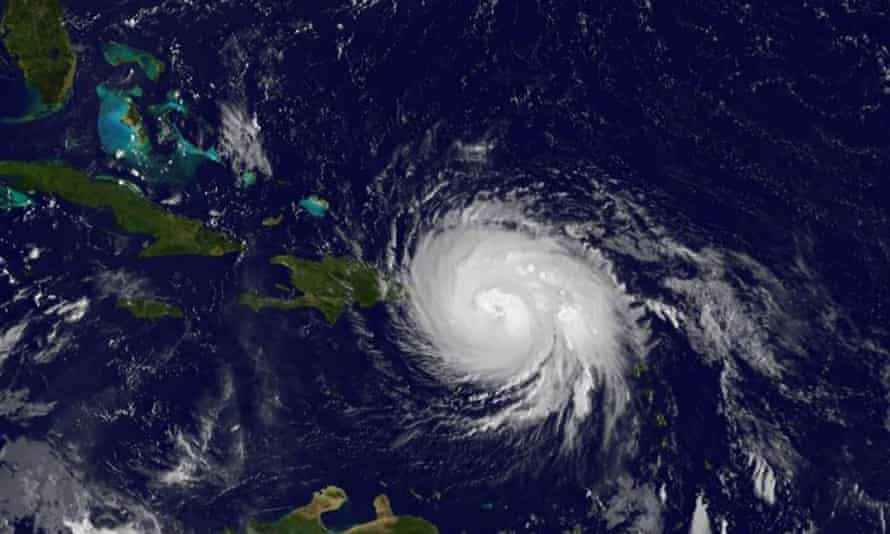 A Nasa image showing Hurricane Maria crossing the Caribbean on Wednesday 20 September.