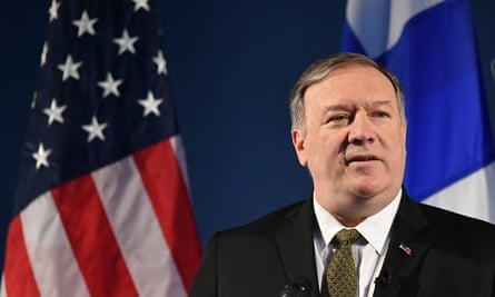 The US secretary of state, Mike Pompeo, speaks on Arctic policy at the Lappi Areena in Rovaniemi, Finland, on Monday.