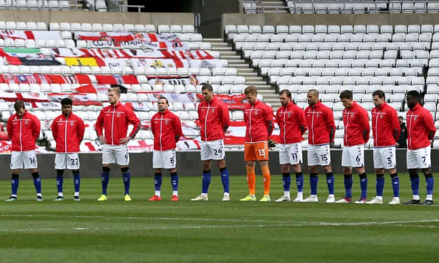 Charlton players pay their respects to Prince Philip before the League One match against Sunderland at the Stadium of Light on Saturday.
