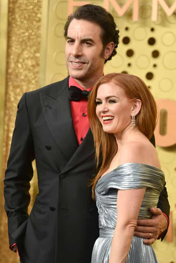 With Isla Fisher at the 2019 Emmy awards.