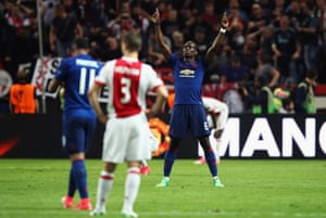 Paul Pogba celebrates as the final whistle goes.