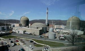 Indian Point nuclear power plant's containment silos rise along the Hudson River in Buchanan, NY.
