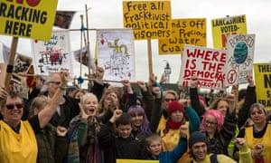 Anti-fracking protesters at Cuadrilla's Preston New Road site near Blackpool in 2018