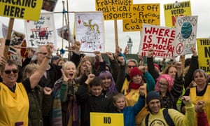 Fashion designer Dame Vivienne Westwood campaigns with fellow anti-fracking protesters near the entrance to the Preston New Road drill site.