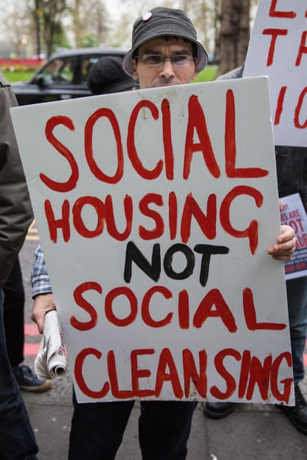 Activists in London campaigning for social housing and against gentrification and social cleansing .
