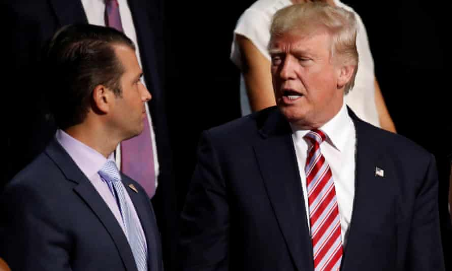 Donald Trump Jr with his father, US President Donald Trump. Trump's campaign committee paid $50,000 to the firm of a lawyer representing his son in the Russia probe.