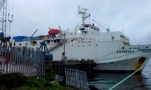 The Express 1 docked at Greenore Port.