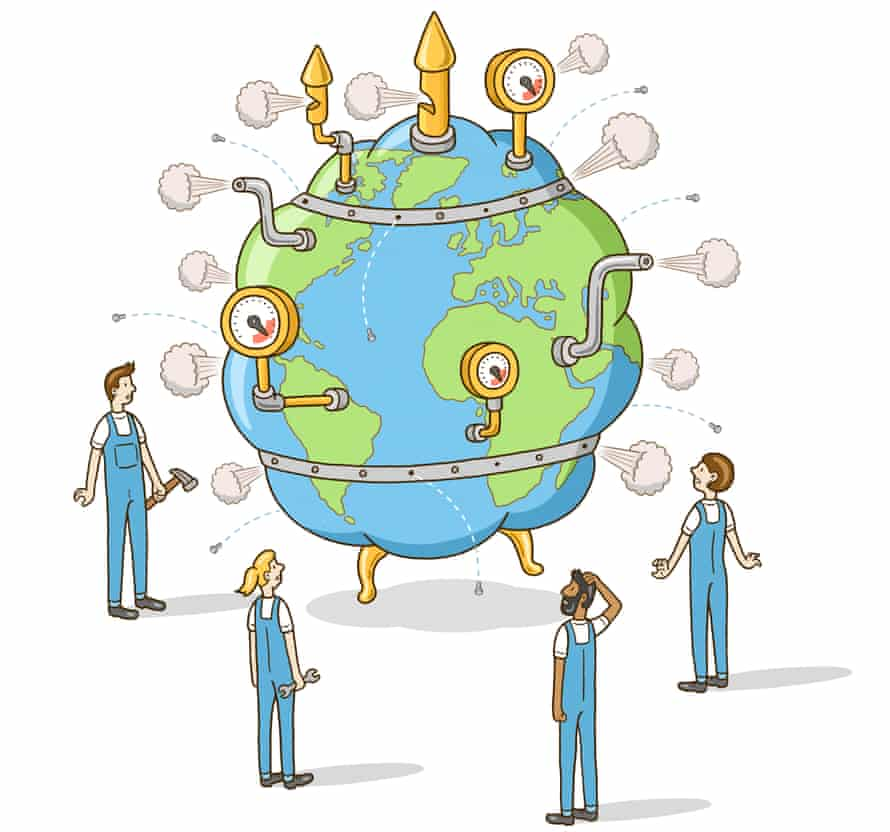 Illustration of a misshaped globe with pipes and smoke coming out of it and people standing around looking up at it, helpless