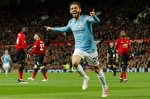 Manchester City's Bernardo Silva celebrates after scoring the opening goal of the game.
