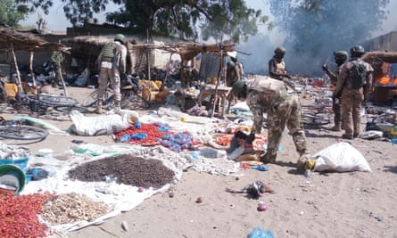 A picture of what Nigerian troops said was a Boko Haram camp