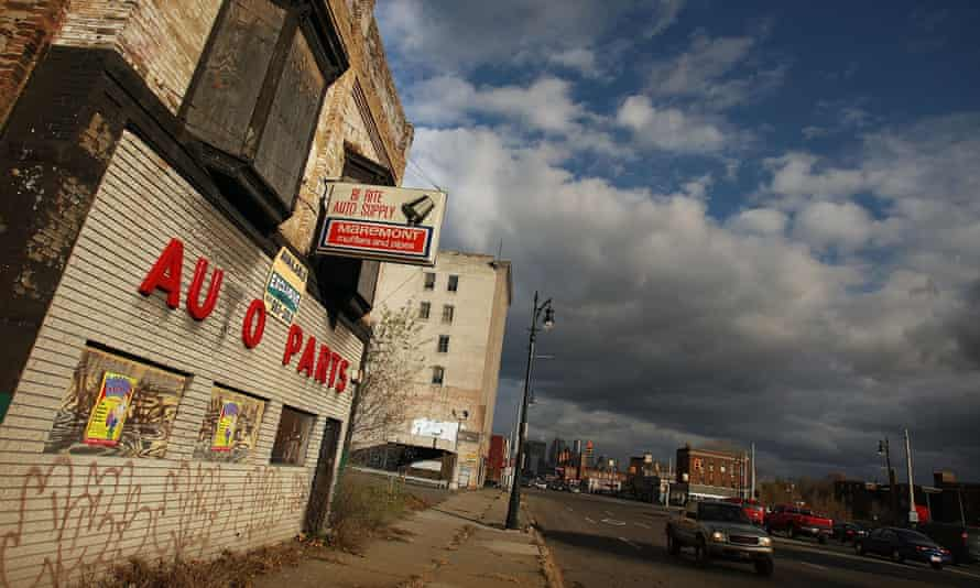 Shuttered businesses line a downtown street in Detroit, Michigan.