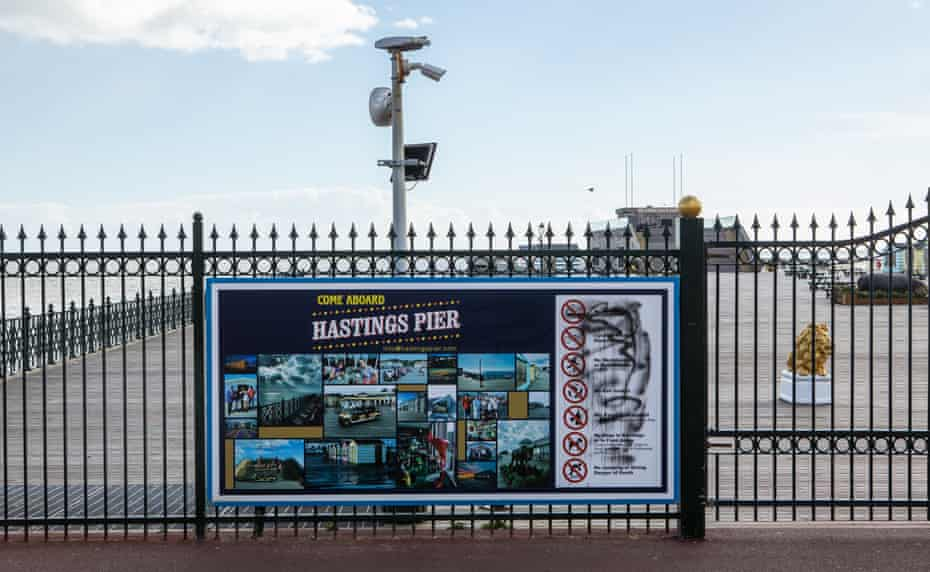The view last week of Hastings pier, closed for repairs by the owner Abid Gulzar.