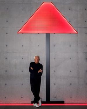 Giorgio Armani with the design for the Logo Lamp - his first creation of Armani/Casa