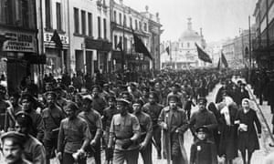 Bolshevik soldiers marching through Moscow, 1917.