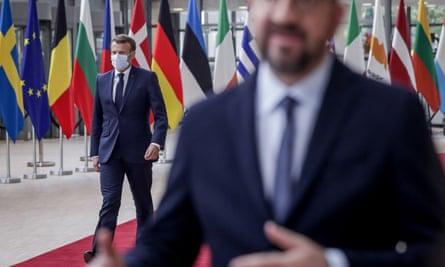 Emmanuel Macron arrives at the EU summit in Brussels.