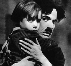 Still commanding … Charlie Chaplin and Jackie Coogan in The Kid, 1921.