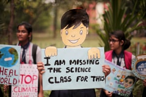 Young people take part in the worldwide climate strike in Kolkata, India