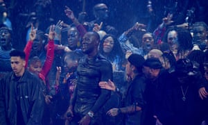 Revel in the might … Stormzy's finale at the Brit awards.
