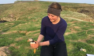Baker with a puffin on Skomer.