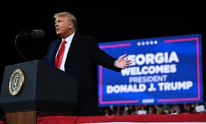 Donald Trump speaks at a rally to support Republican Senate candidates in Valdosta, Georgia in September last year.