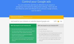 Google signed-out ad control settings