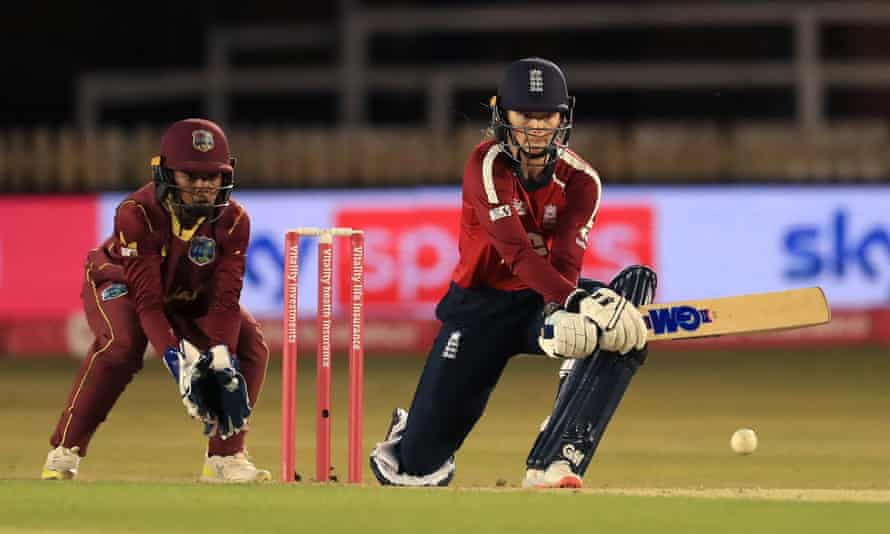 Amy Jones reverse sweeps on her way to 55 from 37 balls against West Indies at Derby.