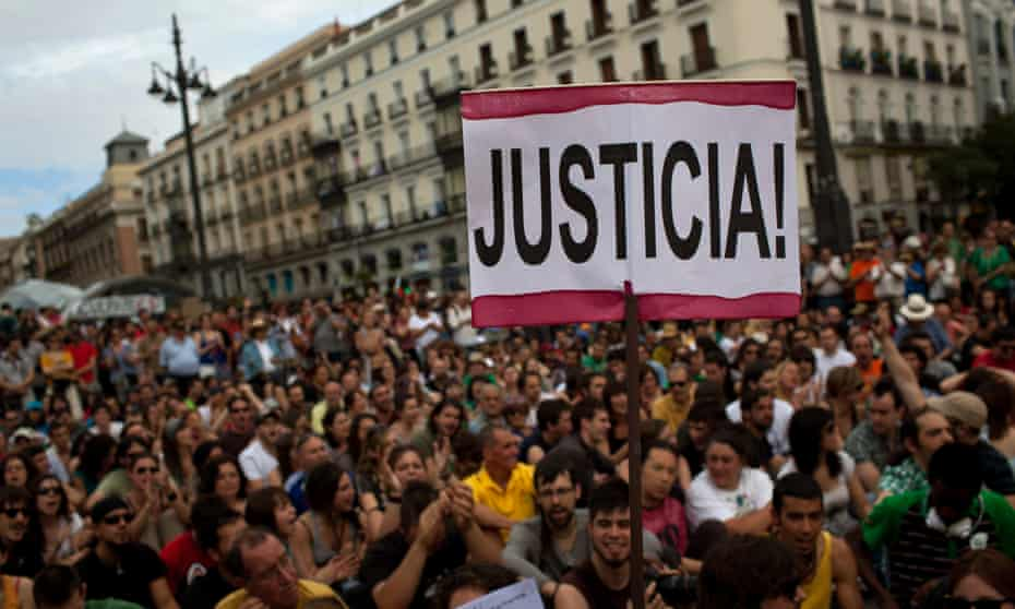 An indignados protest in Madrid, 2012