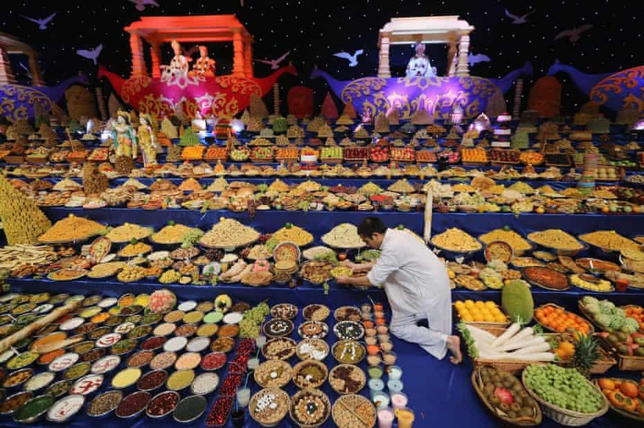 Celebrating Diwali at the Swaminarayan Mandir.