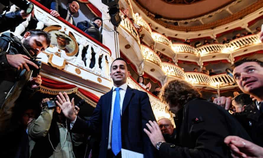 Luigi Di Maio, the Five Star leader, at the Teatro San Nazzaro in Naples