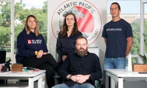Kate Sedwell, Lily Eckersley-Jones, Robin Jenkins and Michel Creber at the London office of Atlantic Pacific.