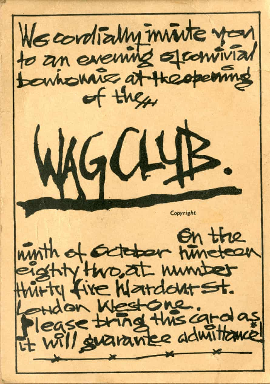 Come hither … the invitation to the opening night of The Wag Club.