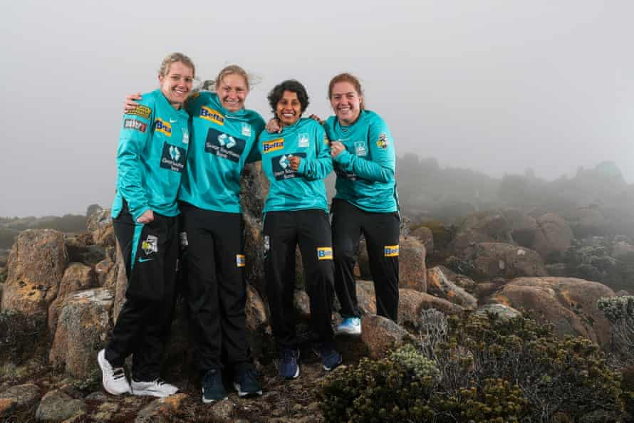 Poonam Yadav with Brisbane Heat teammates Anneke Bosch, Zoe Cookeand and Nadine de Klerk.