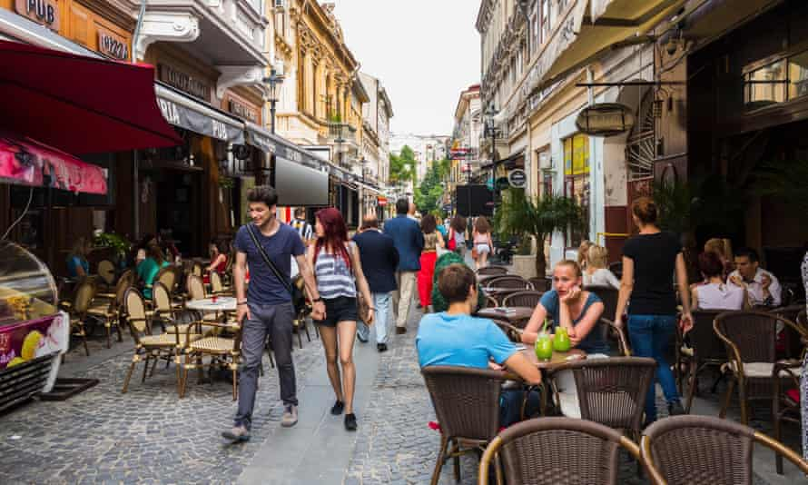 Bars and restaurants in the old town in Bucharest.