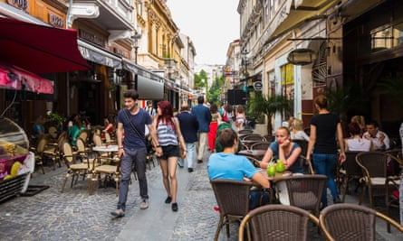 Bars and restaurants in the Old Town, Centru Vechi, Bucharest.