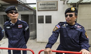 Thai police guard the entrance to the British embassy in Bangkok.