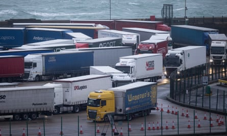 lots of lorries and the English Channel in the background