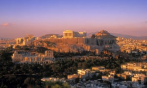 The Acropolis hill and the Parthenon in Athens.