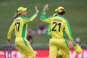 Meg Lanning celebrates the wicket of Hayley Jensen.