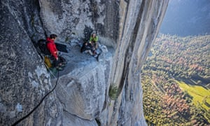 Alex Honnold, left, meets other climbers as he practises on El Capitan's Freerider route in Free Solo