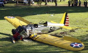 Ford's crashed vintage plane on a golf course in Los Angeles, 5 March 2015.