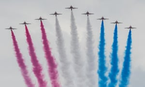 The Red Arrows at the Queen's birthday parade in London in June 2016