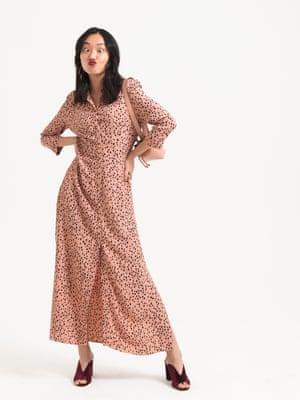 Model wears pink black spot patterned  dress, £46, riversland.com. burgungy courts, £250, lkbennett.com. pale pink bag, £17.99, mango.com.