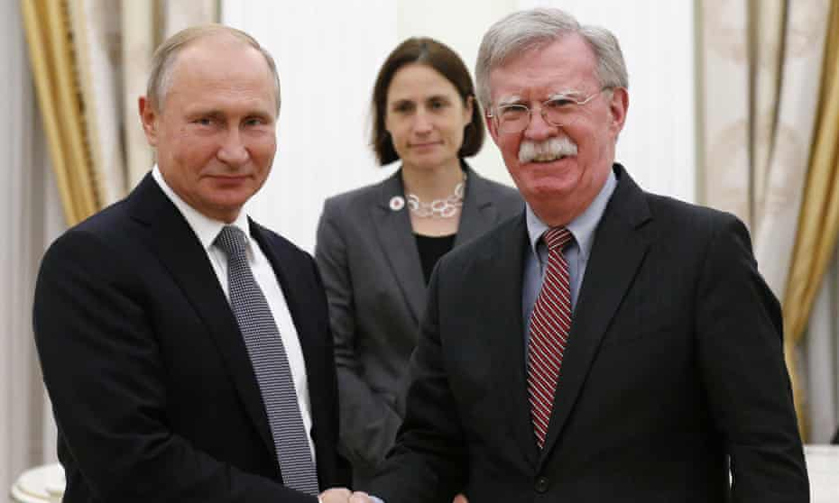 Vladimir Putin and John Bolton during a meeting in the Kremlin in Moscow, Russia on 23 October.